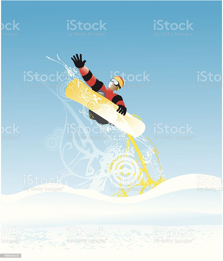 snowboarding and design elements royalty-free stock vector art