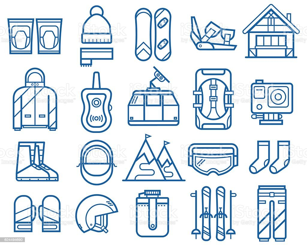 Snowboarding and Skiing Icons vector art illustration