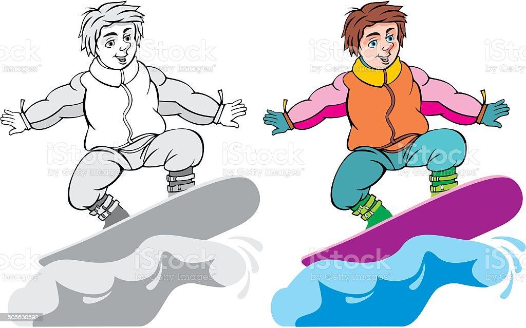 snowboarding  cartoon vector art illustration