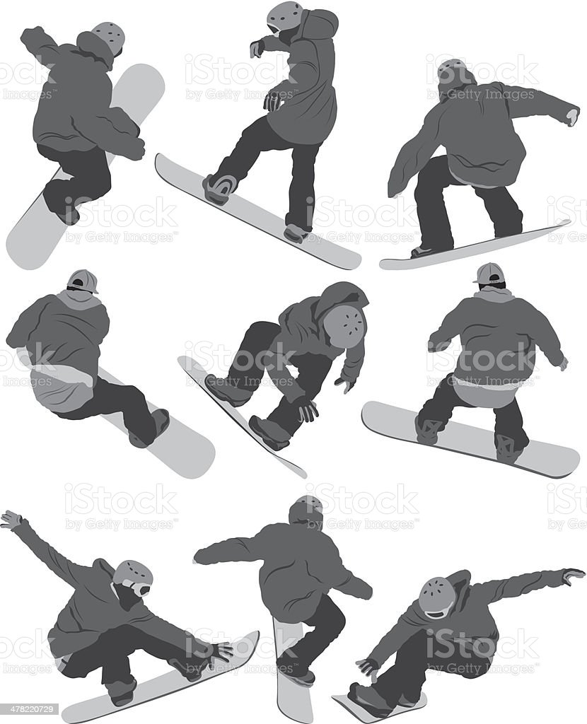 Snowboarding collection vector art illustration