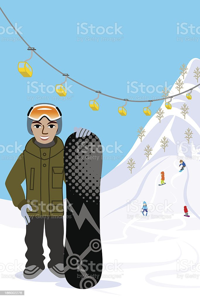Snowboarding man, in ski slope royalty-free stock vector art