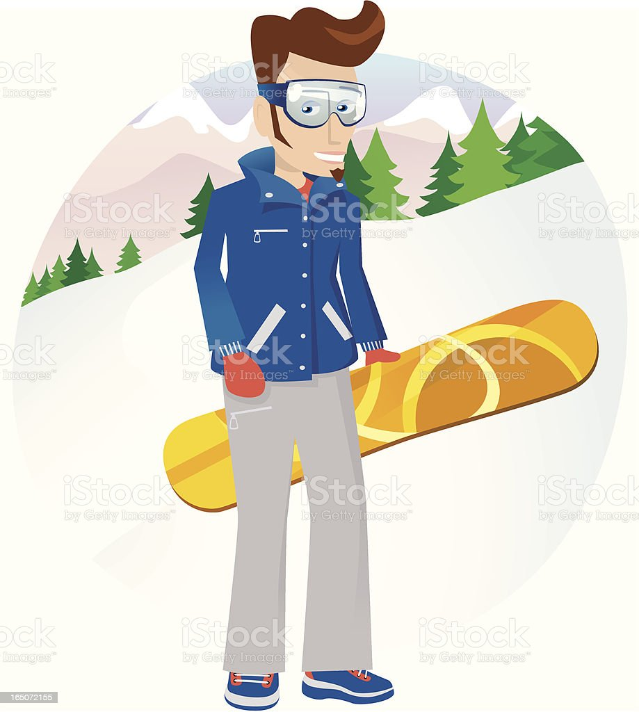 Snowboarding man royalty-free stock vector art