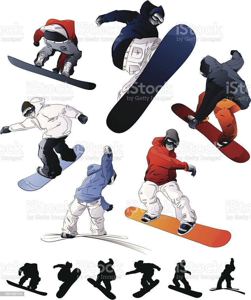 Snowboarding Set vector art illustration