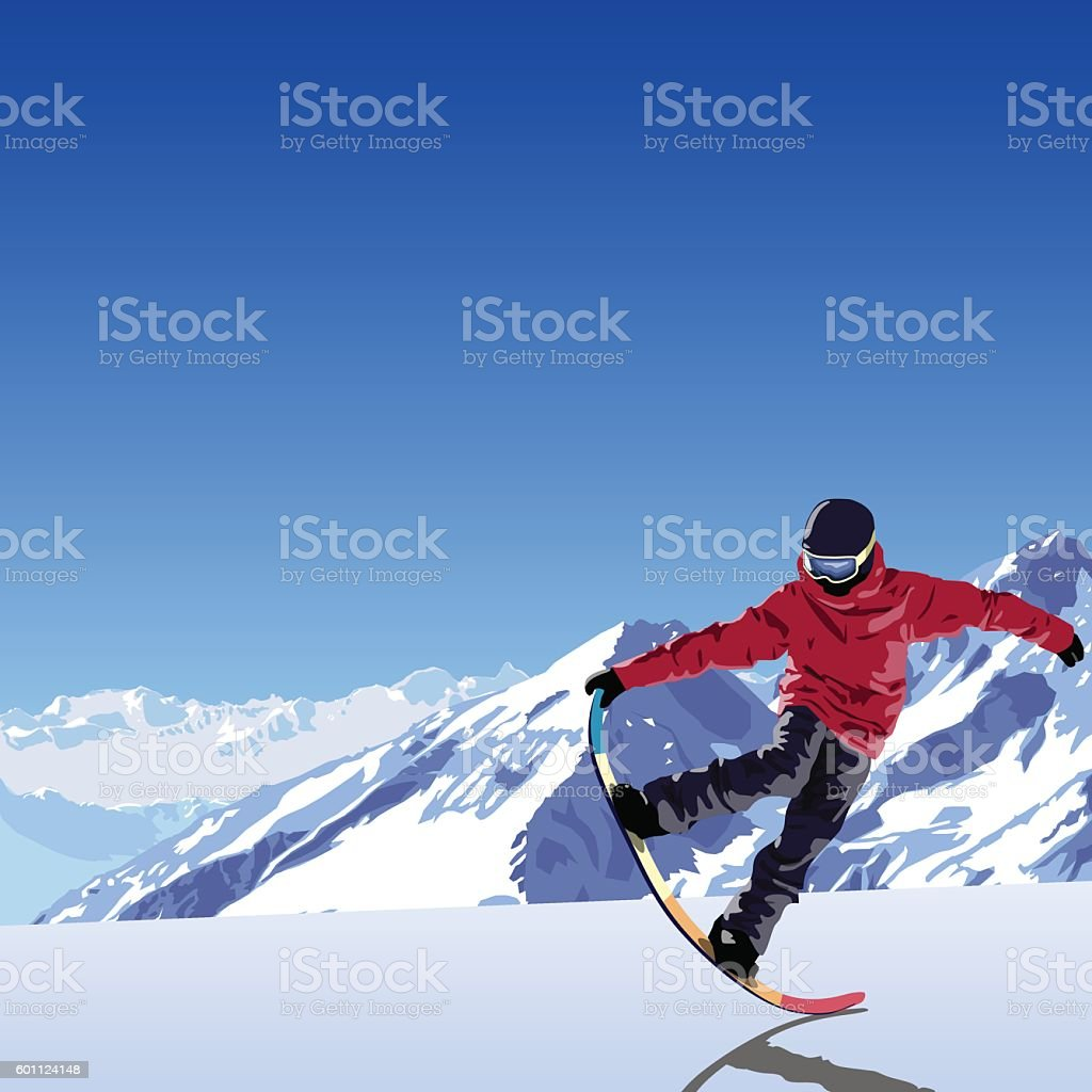 snowboarding theme illustration. Snowboarder makes trick tail block. vector art illustration