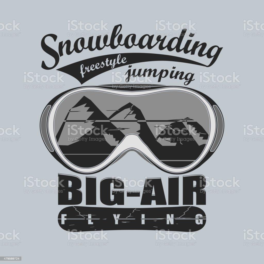 Snowboarding T-shirt fashion graphic, sport goggles emblem,...