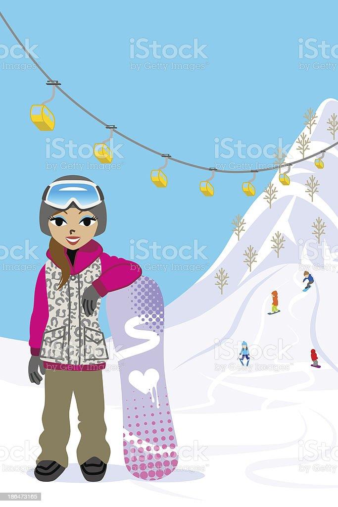 Snowboarding woman in ski slope royalty-free stock vector art