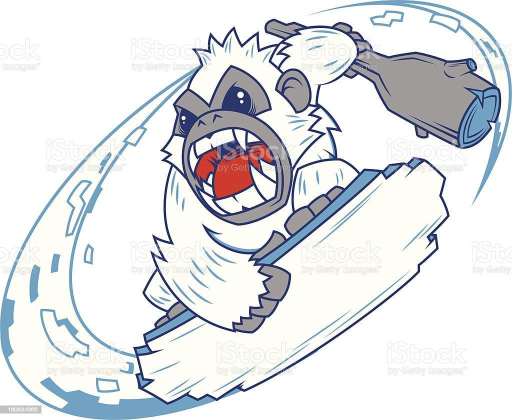 snowboarding Yeti vector art illustration
