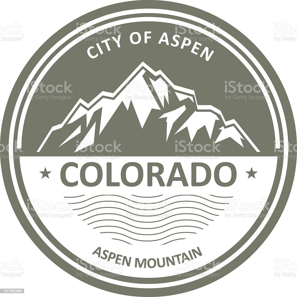 Snowbound Rocky Mountains - Colorado, Aspen label vector art illustration