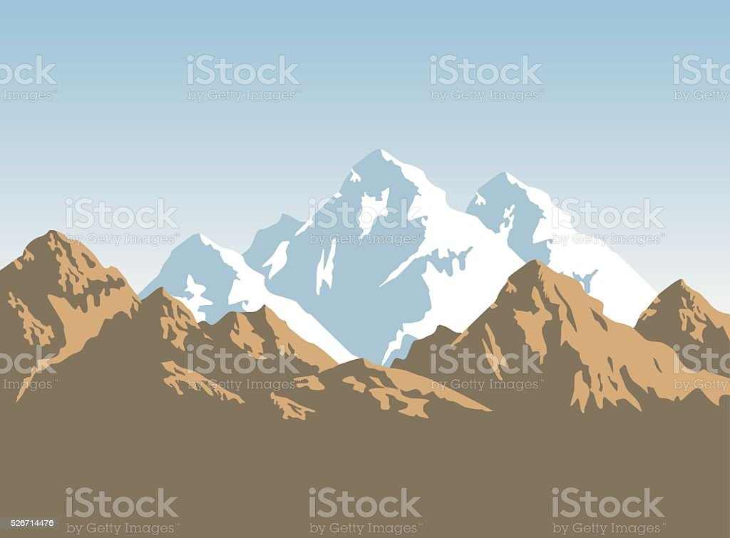 snowcapped mountains and brown rocks - background vector art illustration