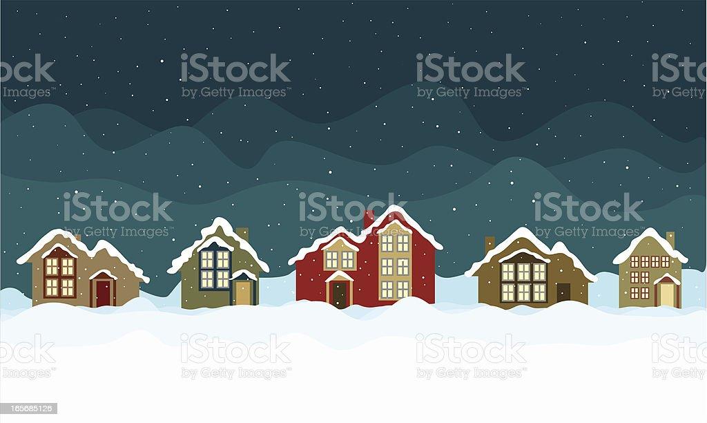 Snowed in Mountain Village vector art illustration