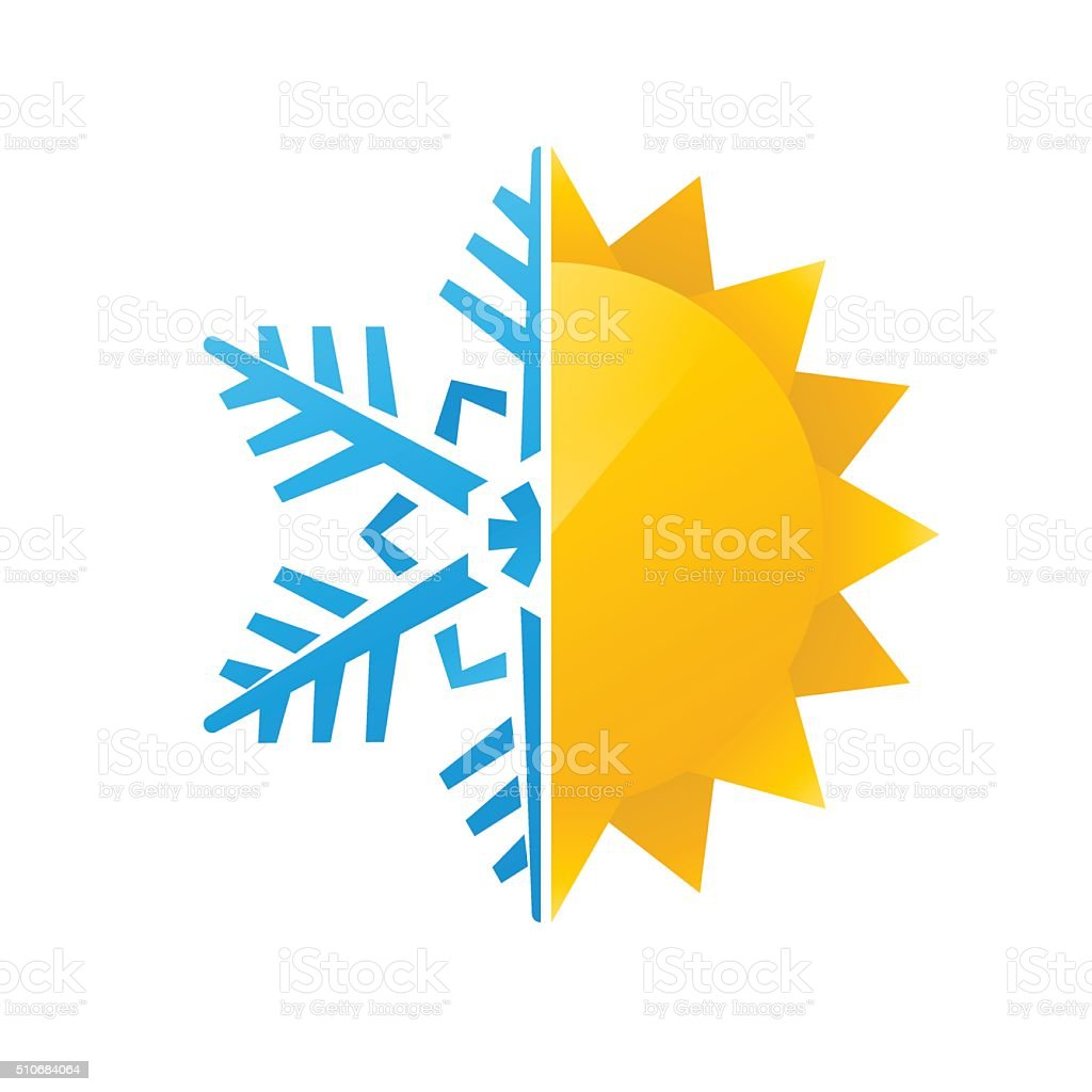 snowflake and sun icon vector art illustration