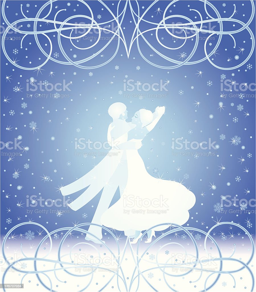 Snowflake dance vector art illustration