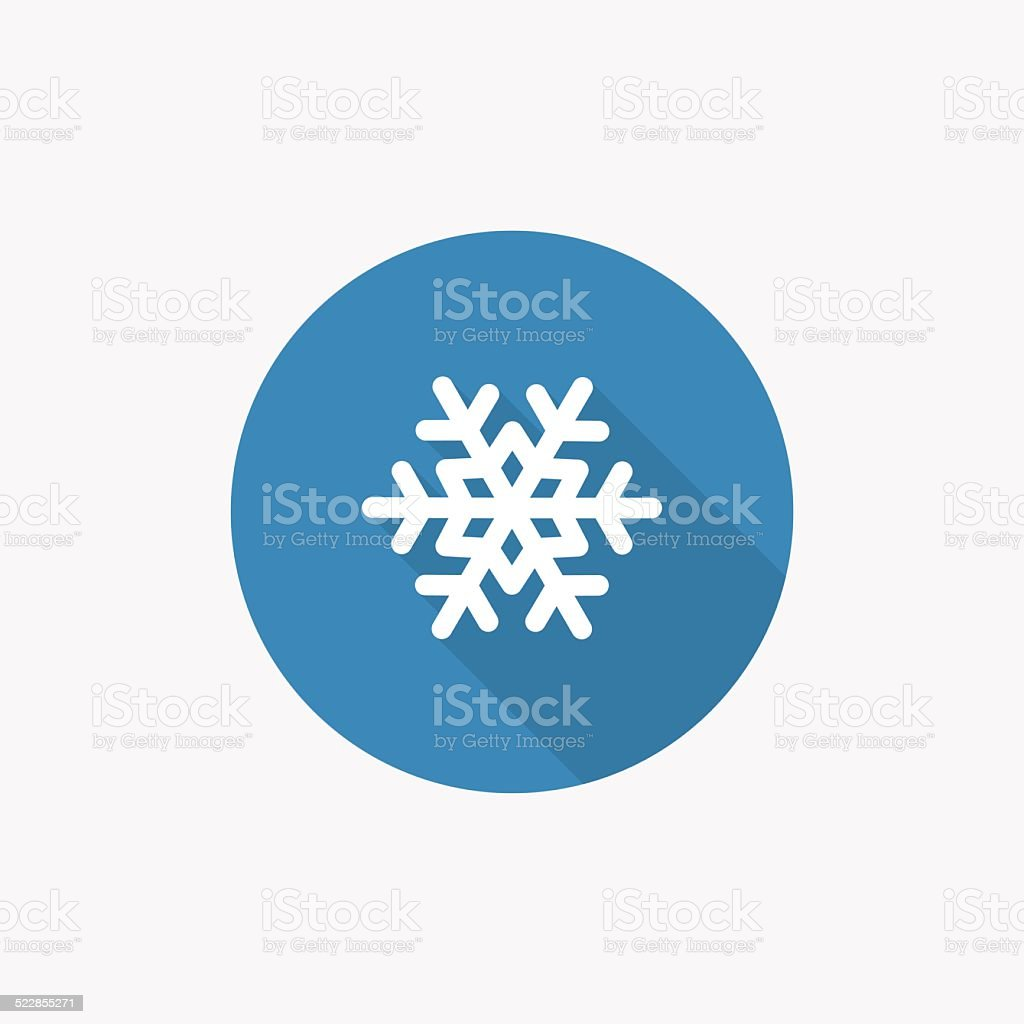 snowflake Flat Blue Simple Icon with long shadow vector art illustration