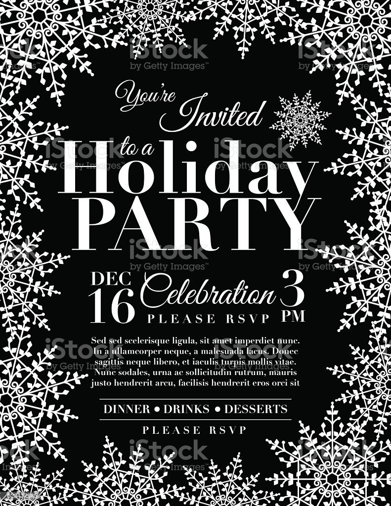 Snowflake Holiday Party Invitation Template - Black vector art illustration