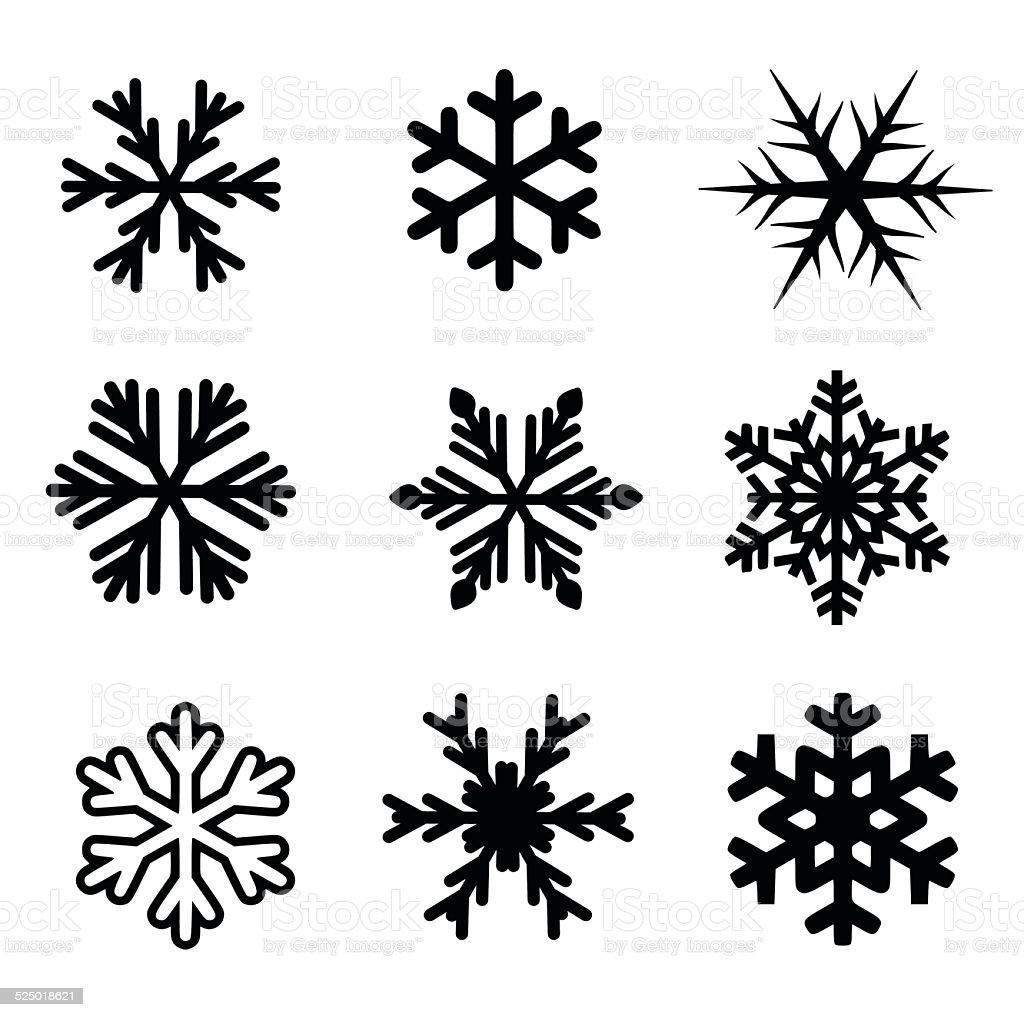 Snowflake icon set vector vector art illustration