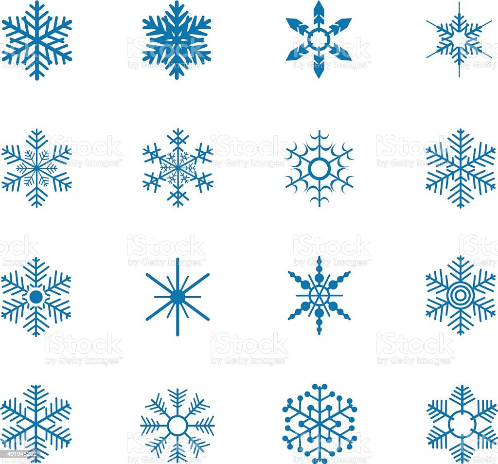 Snowflake icons vector art illustration