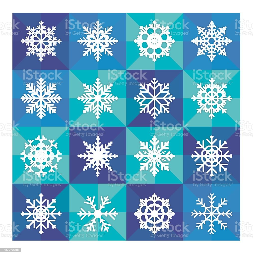 Snowflake icons with mosaic blue background vector art illustration
