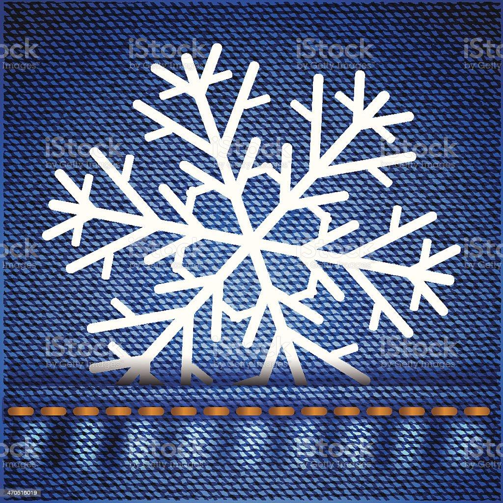 snowflake on jeans texture vector art illustration