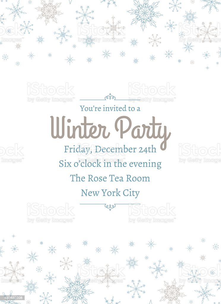 Snowflake Party Invitation Two vector art illustration