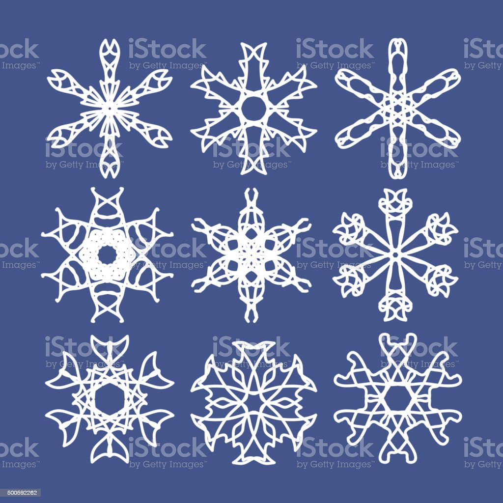 Snowflake Set. Christmas and new year concept vector art illustration