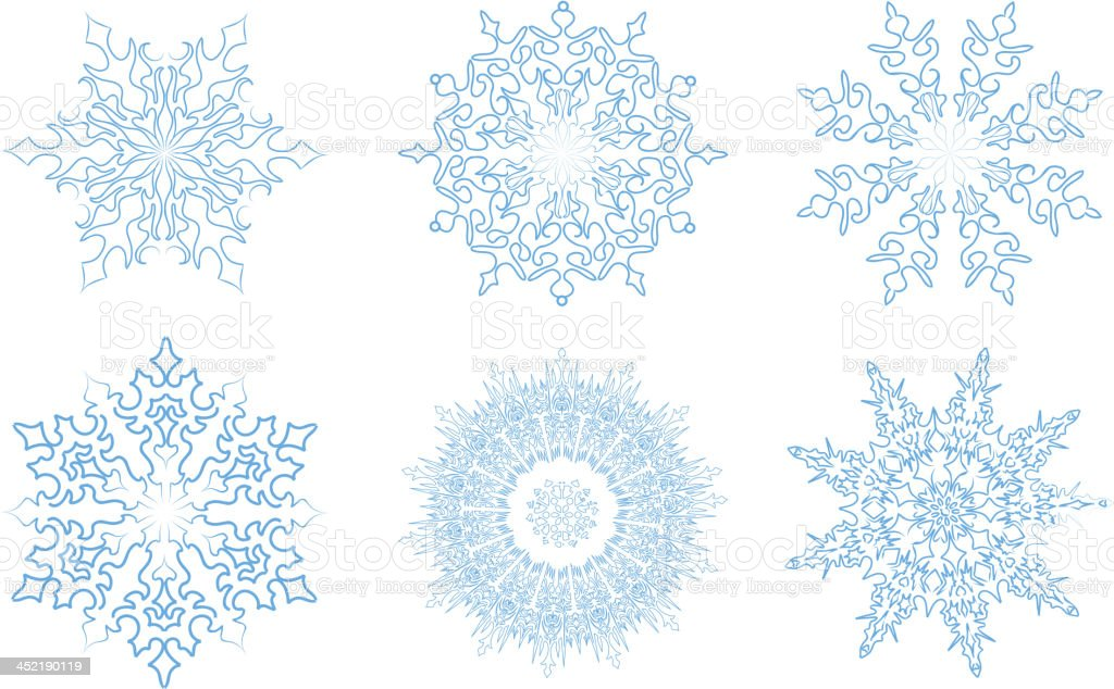 Snowflake set, isolated over white background royalty-free stock vector art