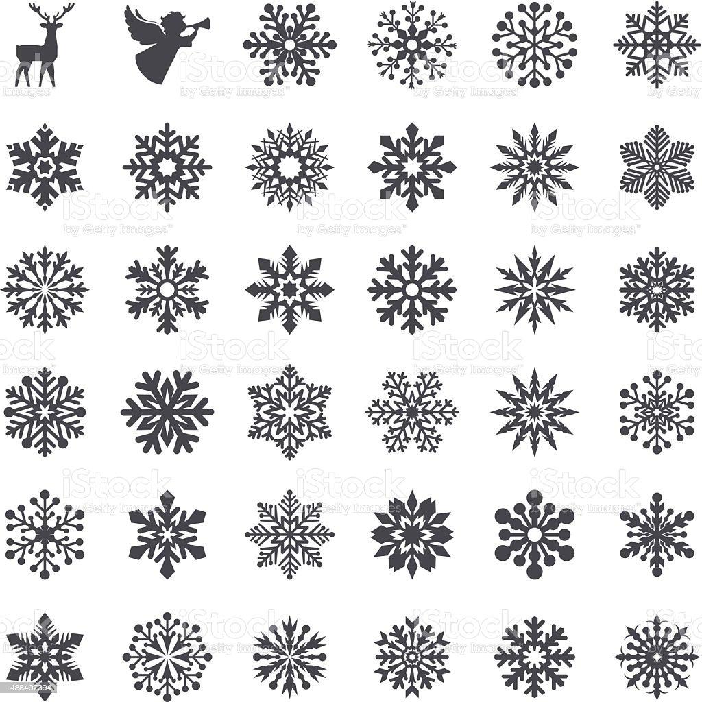 Snowflake Set vector art illustration