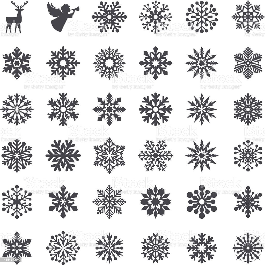 Snowflake Set vector art illustration