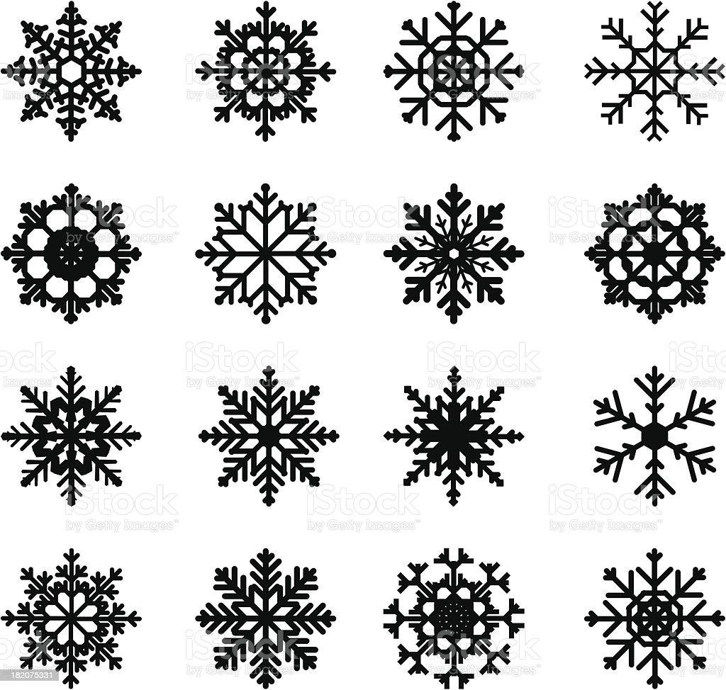 snowflake silhouettes vector art illustration