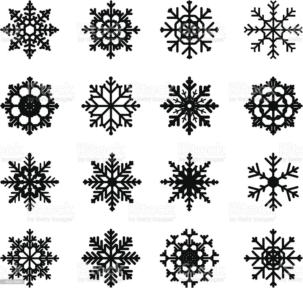 snowflake silhouettes vector art illustration