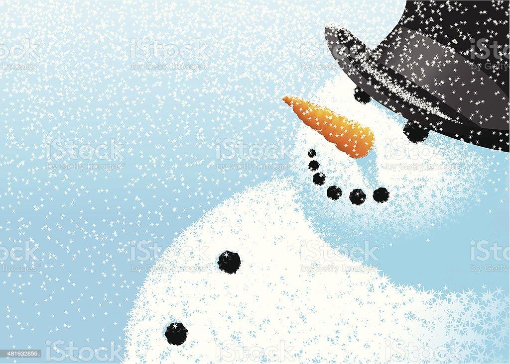Snowflake snowman vector art illustration