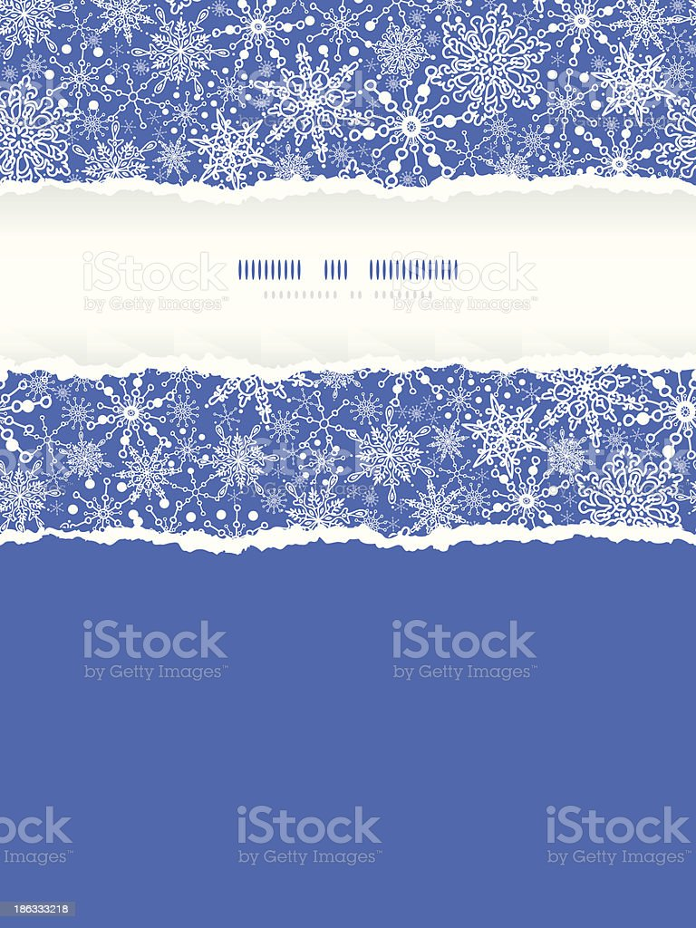 Snowflake Texture Vertical Torn Frame Seamless Pattern Background royalty-free stock vector art