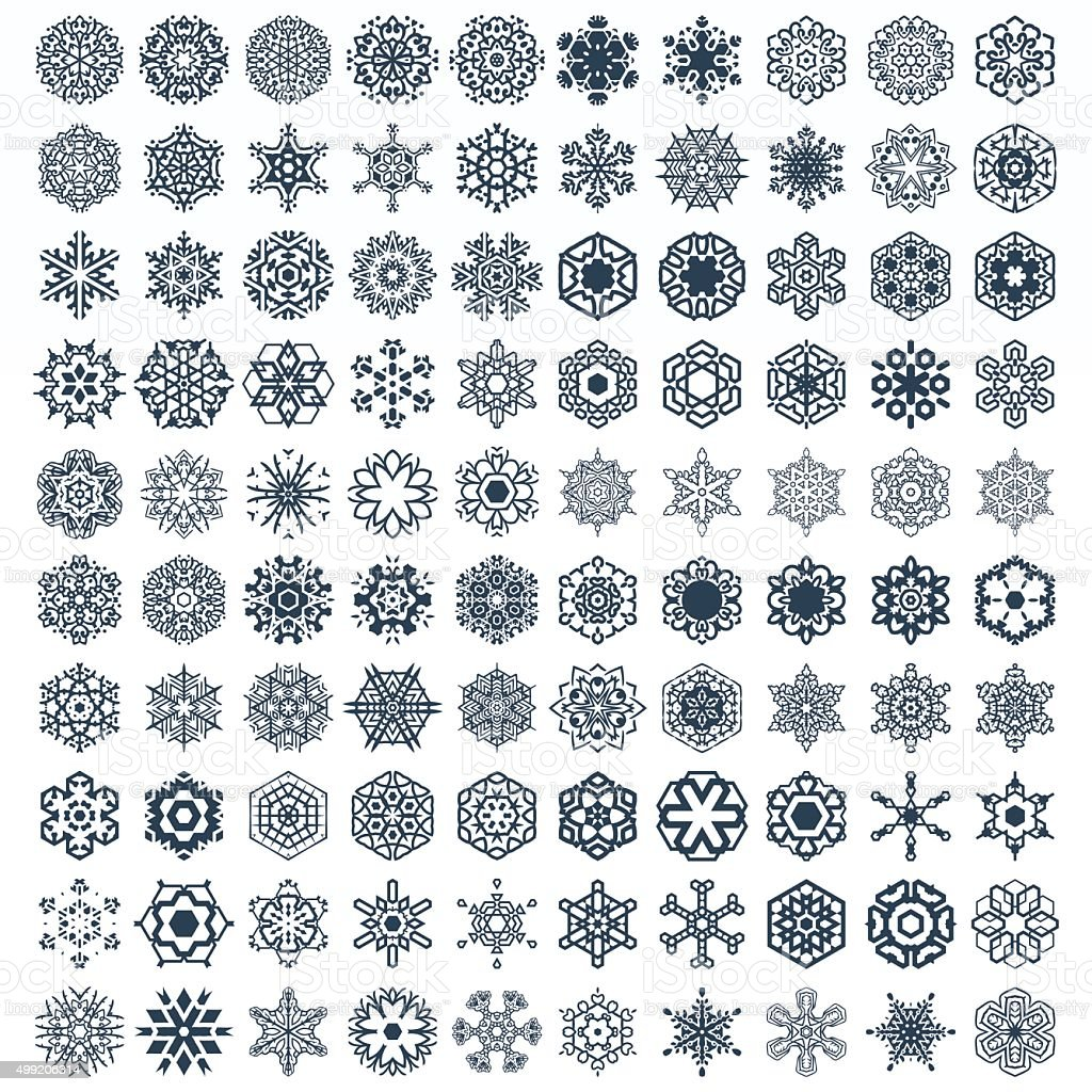 Snowflake Vector Shapes for winter and Christmas vector art illustration
