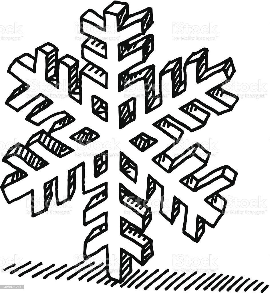 Snowflake Winter Symbol Drawing royalty-free stock vector art