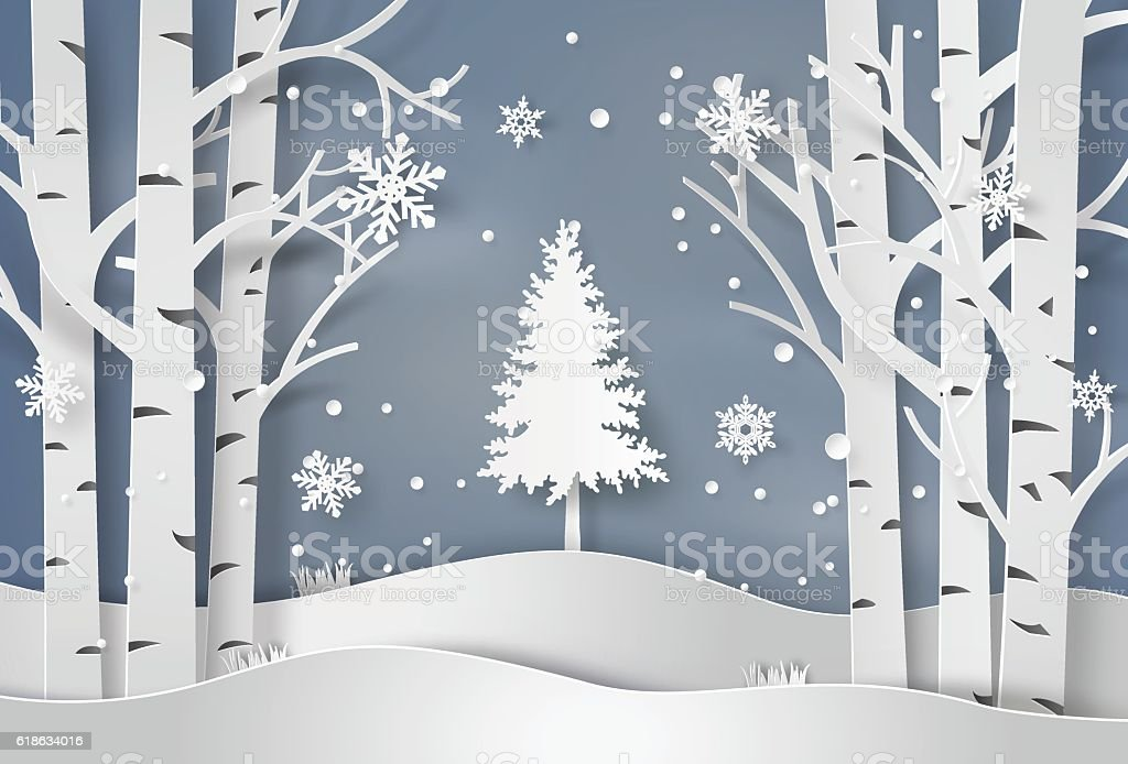 snowflakes and christmas tree vector art illustration