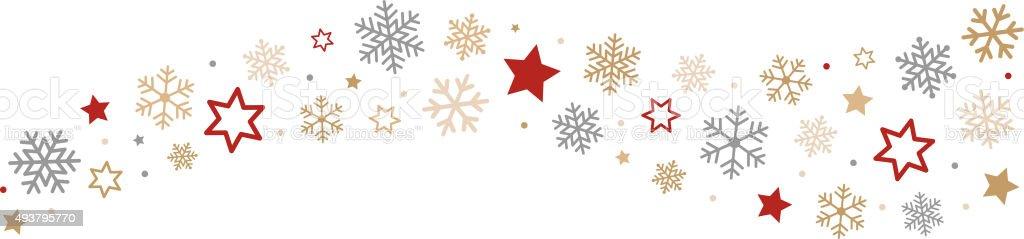 Snowflakes and Stars Border vector art illustration