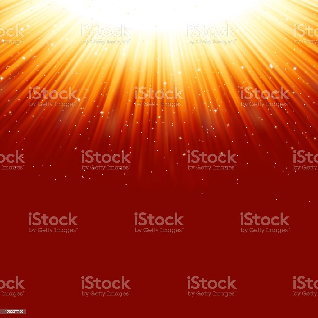 Snowflakes and stars on golden light. EPS 8 royalty-free stock vector art