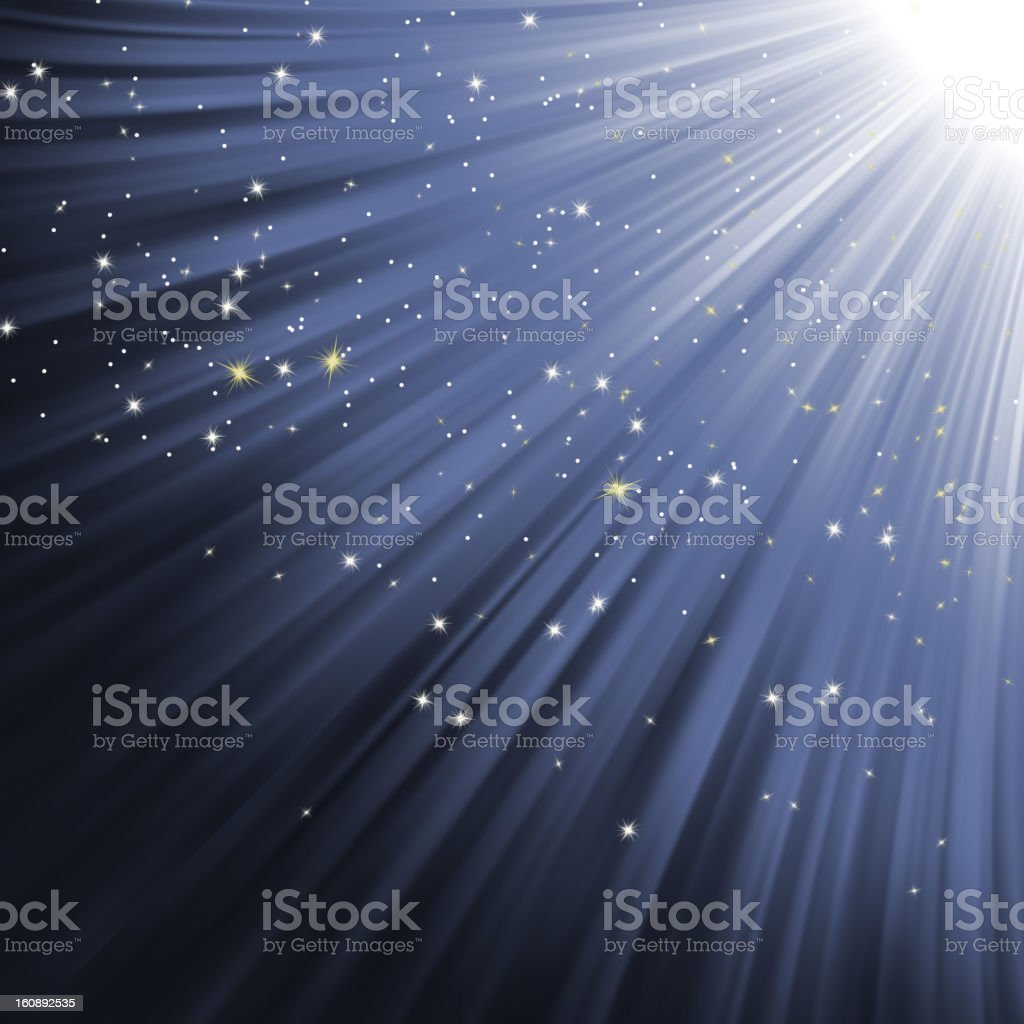 Snowflakes and stars on path of light. EPS 8 royalty-free stock vector art