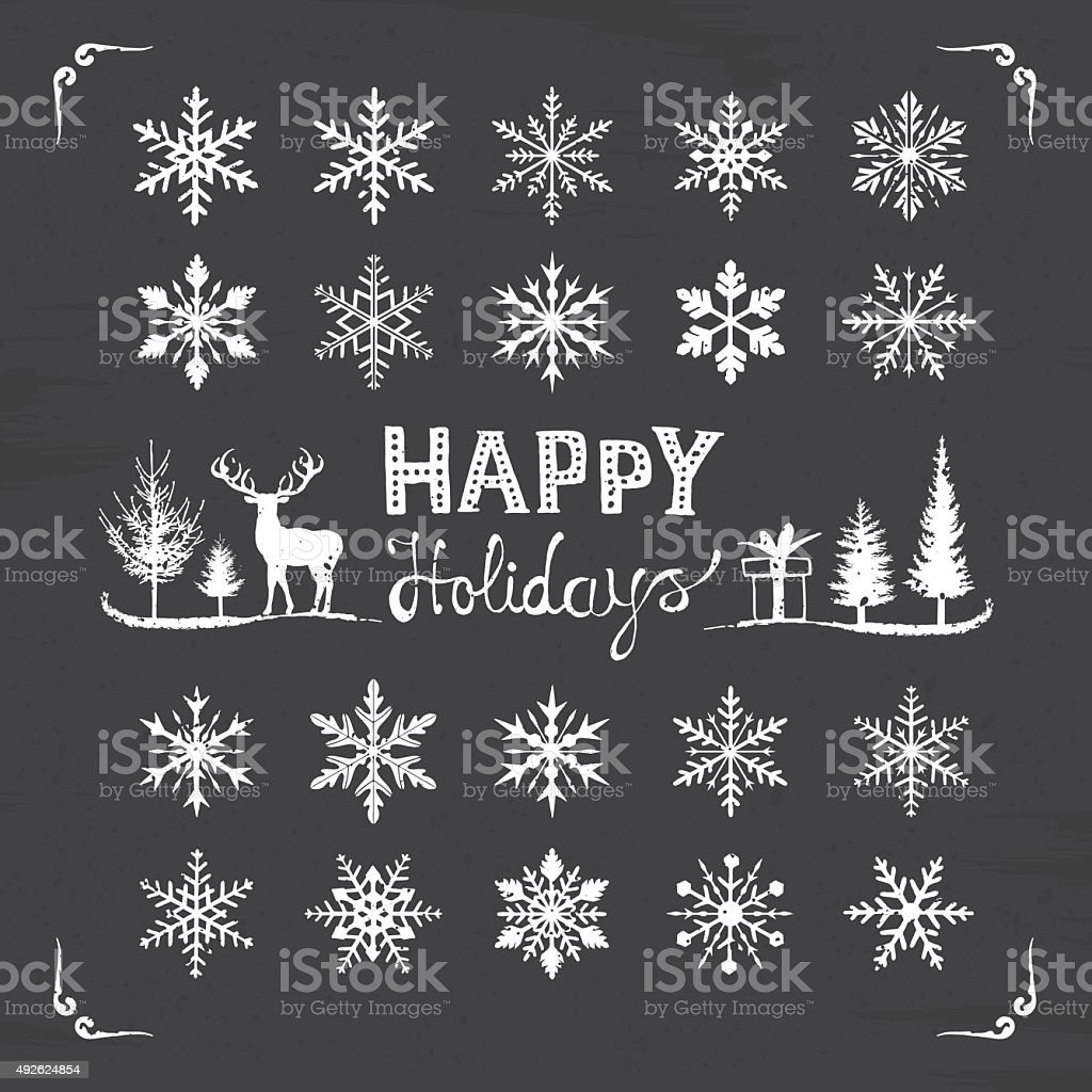 Snowflakes blackboard vector art illustration