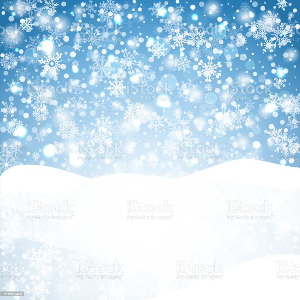 Snowflakes blue background. Geometric natural flakes shapes elements. Greetings banner vector art illustration