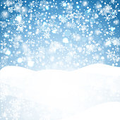 Snowflakes blue background. Geometric natural flakes shapes elements. Greetings banner