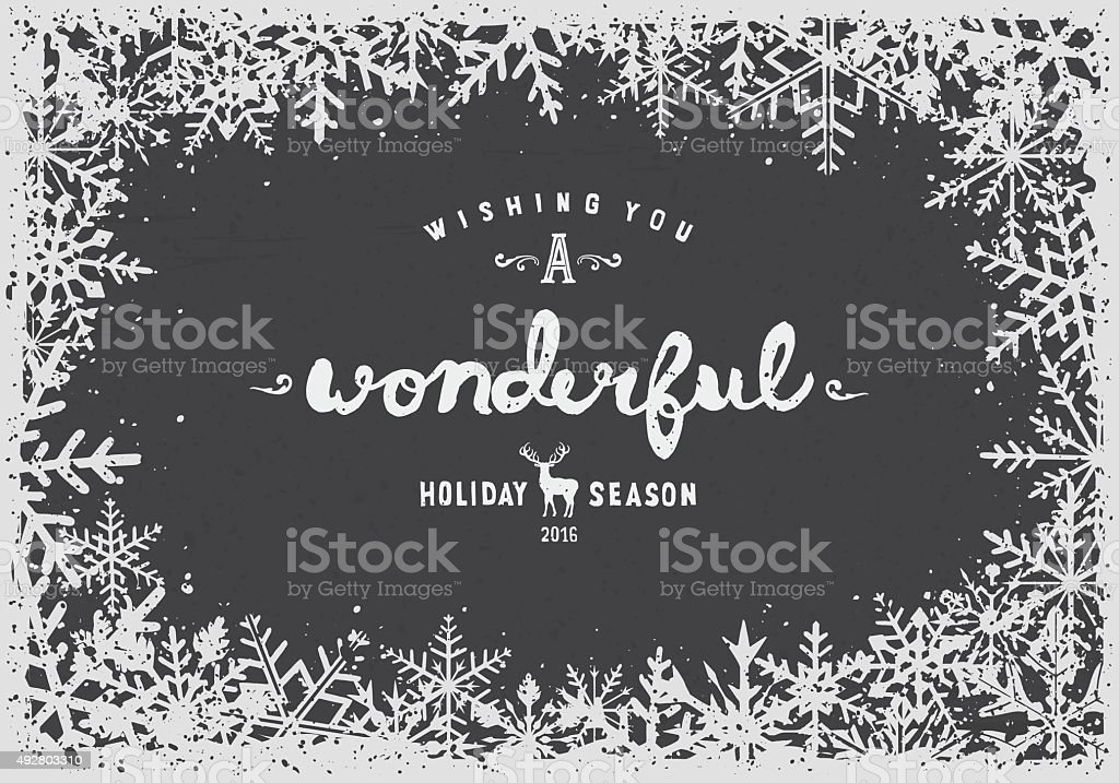 Snowflakes border vector art illustration