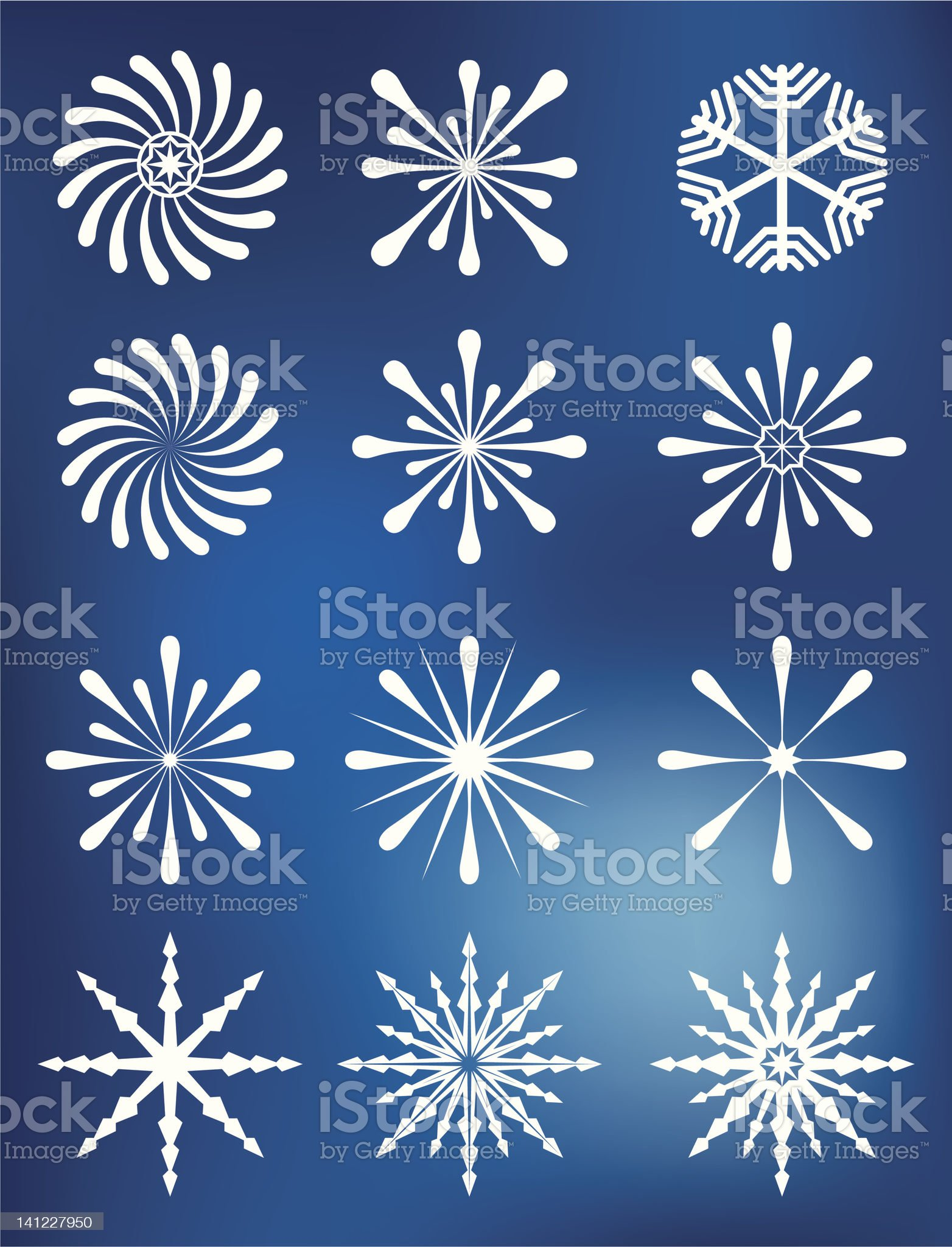 Snowflakes Collection on Blue background royalty-free stock vector art