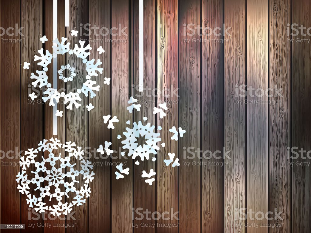 Snowflakes hanging over wooden. EPS 10 royalty-free stock vector art