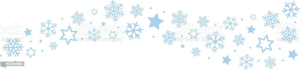 Snowflakes Ice Crystal Border vector art illustration