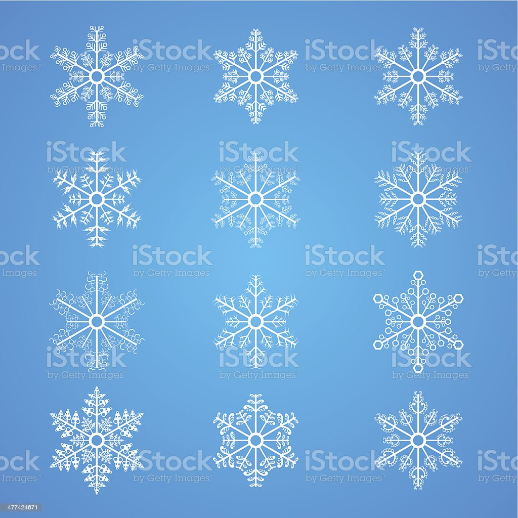Snowflakes icon collection royalty-free stock vector art