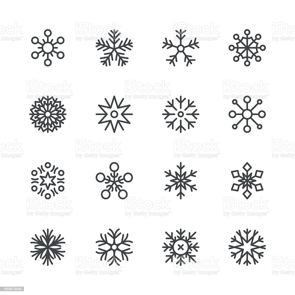 Snowflakes icons set 1 | Black Line series vector art illustration