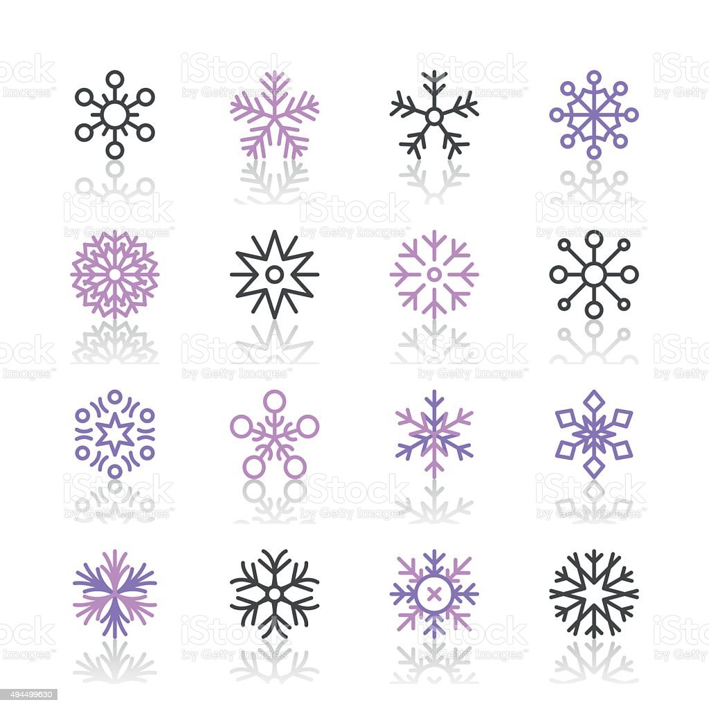 Snowflakes Icons set 1 | Purple Line series vector art illustration