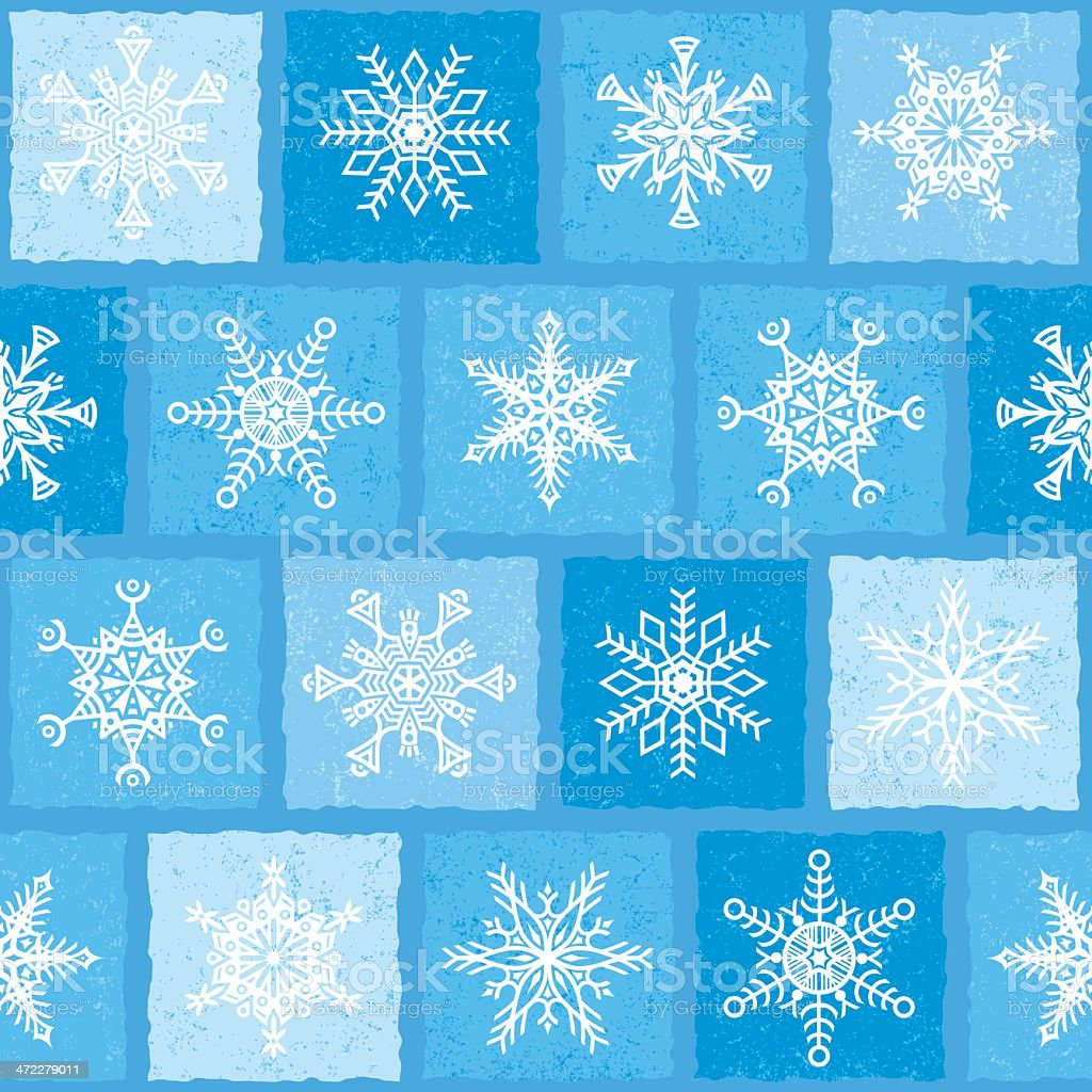 Snowflakes In Squares Repeat royalty-free stock vector art