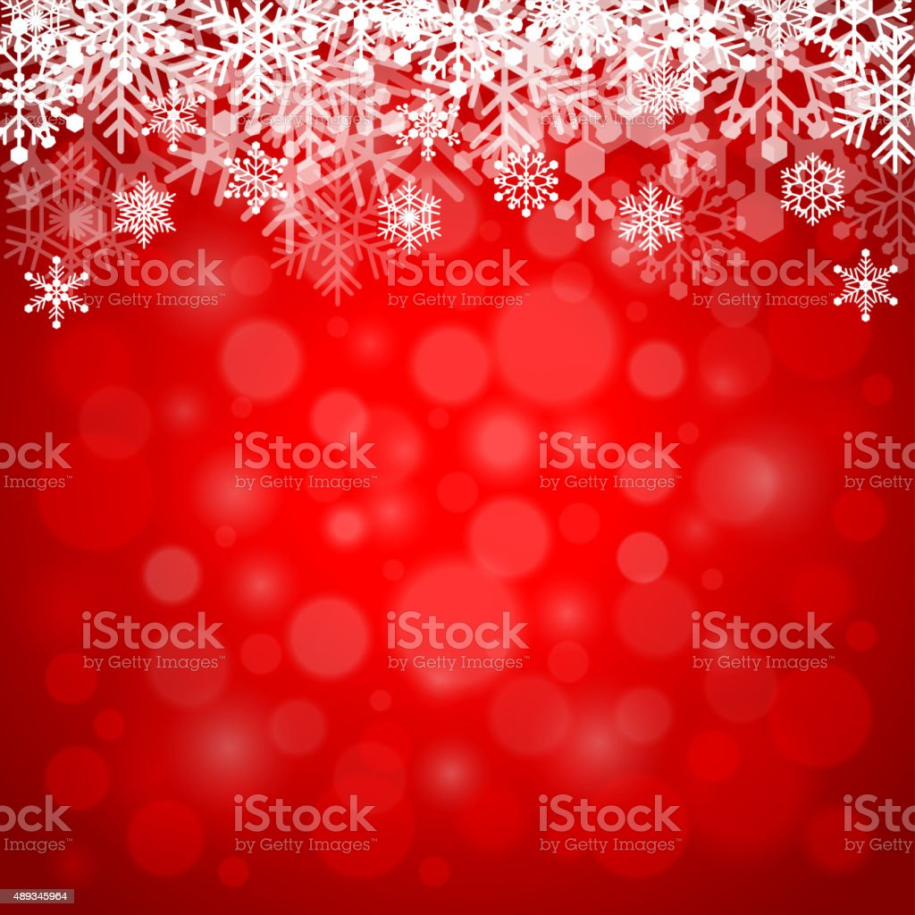 Snowflakes on red background vector art illustration