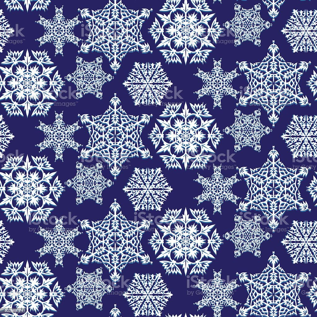 Snowflakes seamless pattern vector art illustration